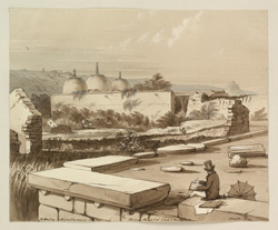 'Miscellaneous Series. Plate.12. Juma Masjid, Chanderi'. Maisey in a top-hat sketching in the foreground